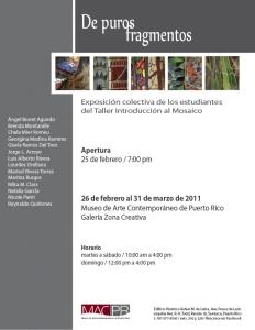 Invitación Apertura exhibición de Mosaicos
